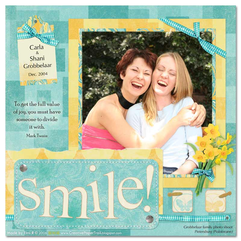 Digital scrapbook page of my two sisters