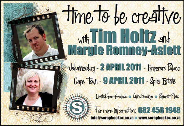 Ad for Tim Holtz visit to South Africa in April 2011