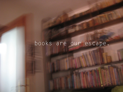 Photo of bookcase and a quote