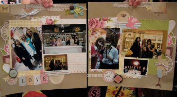 Double-spread scrapbook pages made by Margie