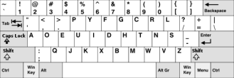 Image of Dvorak keyboard layout