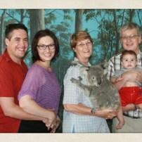 The whole happy family. With a koala.
