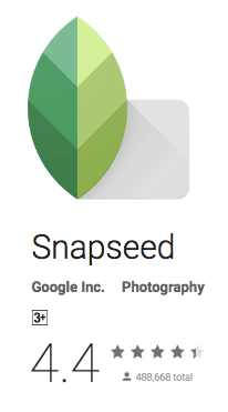 The Snapseed image app in the Android (Google Play) store