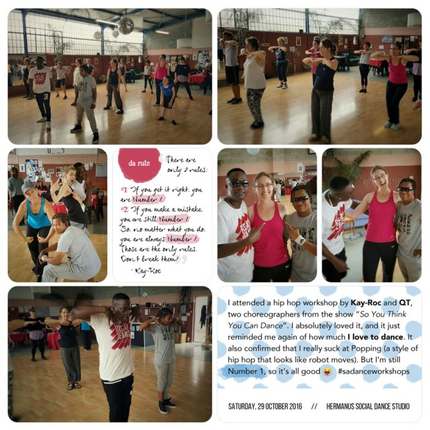 Scrapbook page of dance workshop