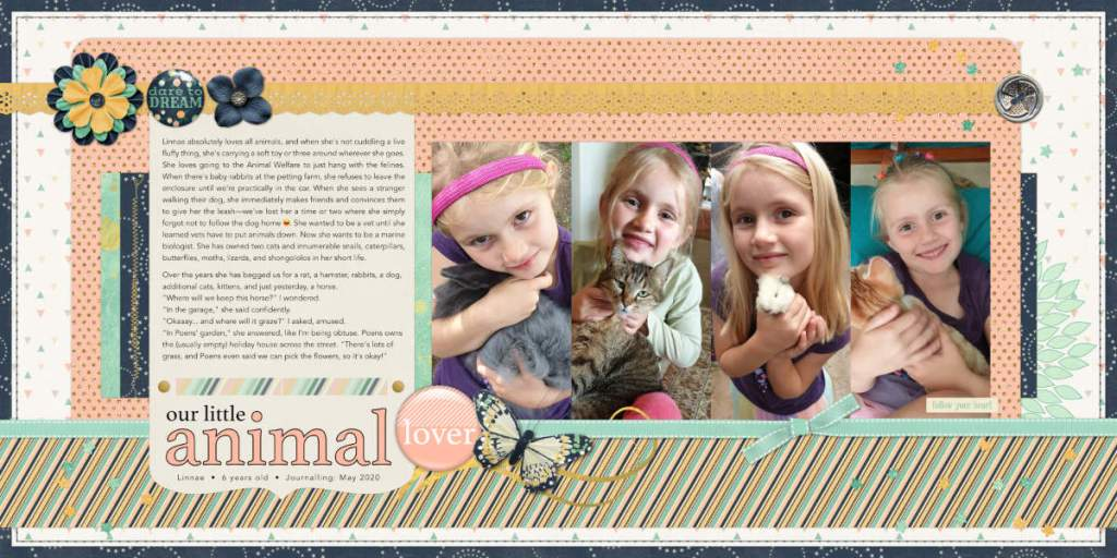 Double-page layout called Our Little Animal Lover